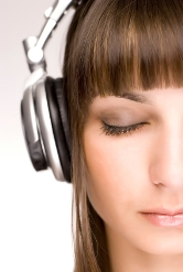 Closeup of Woman Listening to Headphones